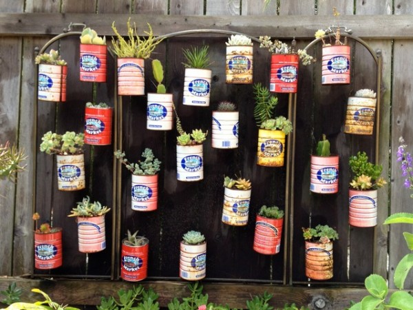 jardim vertical latas : jardim vertical latas:Vertical Garden Recycled Can
